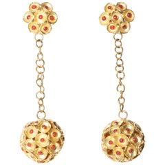22 Karat Gold and Coral Drop Ball Earrings