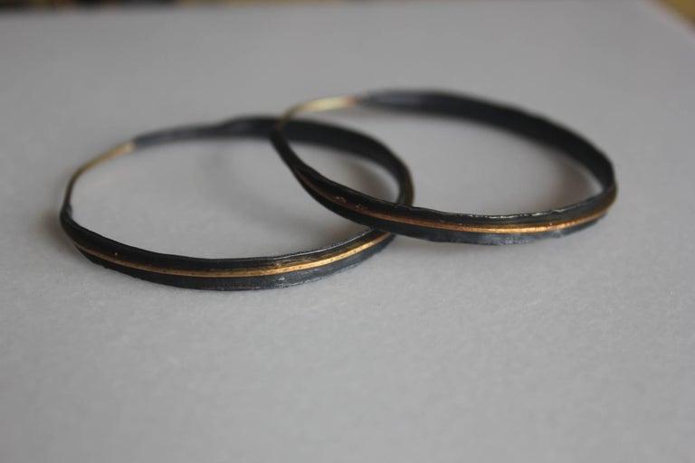 22 Karat Yellow Gold And Oxidized Silver Handmade Hoop