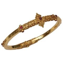 22 Karat Gold and Ruby Bangle