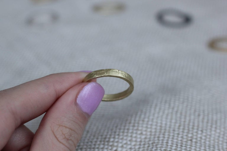 Simplicity Wide Band contemporary design- For sale here is a Bridal Wedding Band Ring in 22k gold.  Process: This striking ring is first hand-forged in 21k gold, then cast in various metals and a hammered/satin finish is added. Wear it alone or
