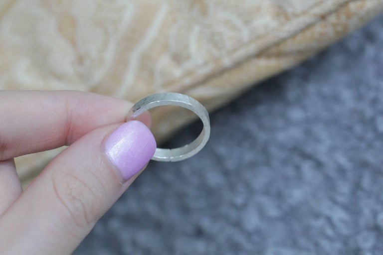Round Cut 22k Gold Bridal Wedding Band Ring Wide Band Modern Stacking Ring  For Sale