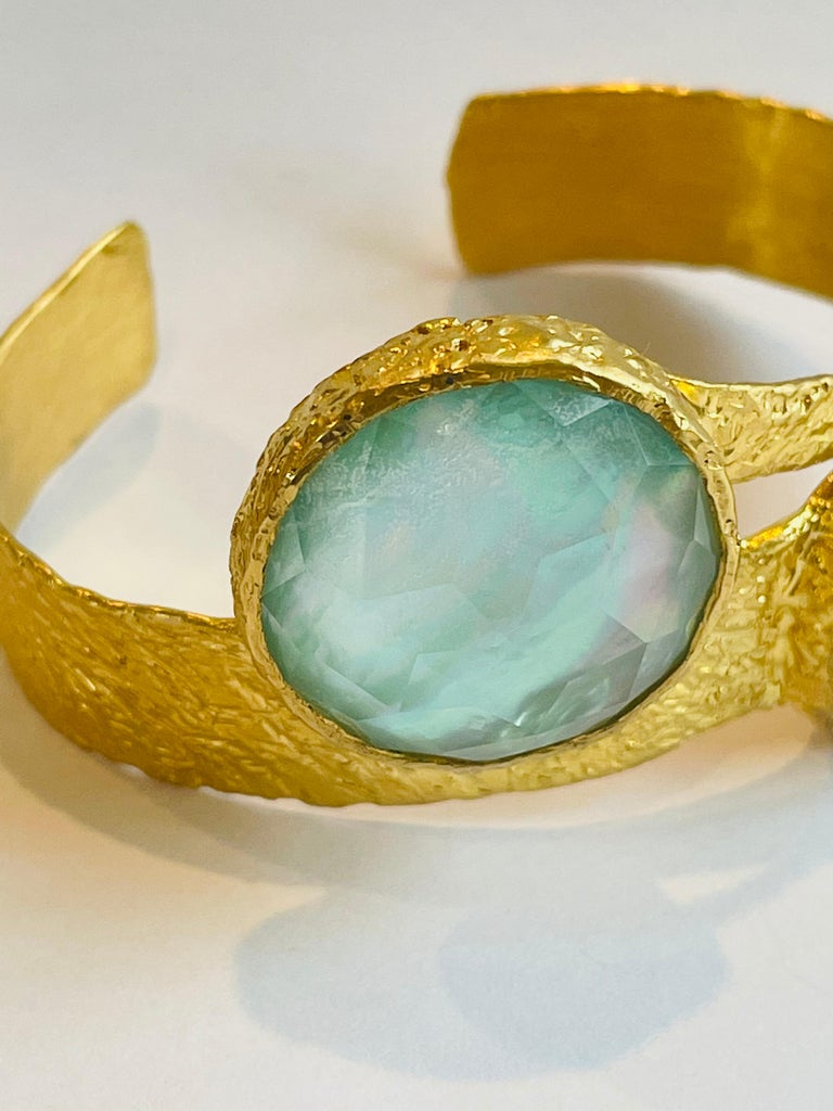 Artisan 22k Gold Cuff with Turquoise, Pearl and Quartz by Tagili For Sale