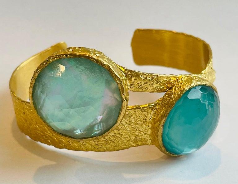 22k Gold Cuff with Turquoise, Pearl and Quartz by Tagili In New Condition For Sale In New York, NY