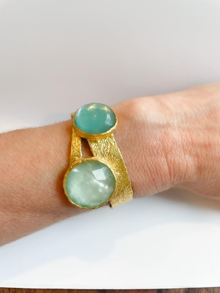 Women's 22k Gold Cuff with Turquoise, Pearl and Quartz by Tagili For Sale