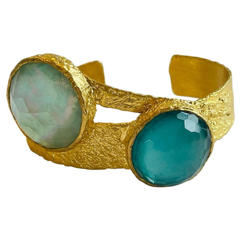 22k Gold Cuff with Turquoise, Pearl and Quartz by Tagili For Sale