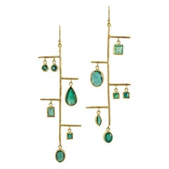 22k Gold Gemfields Ethically Sourced Zambian Emerald Sculptural Mobile Earrings