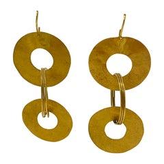 22k Gold Handmade Circle Earrings