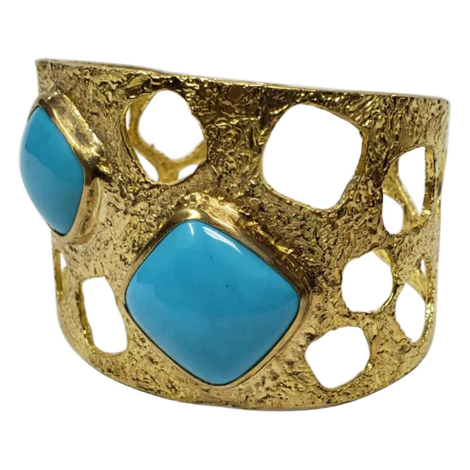 22k Gold Handmade Cuff with Turquoise