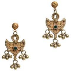 22K Gold Indian Dangle Earrings, Early 1900's