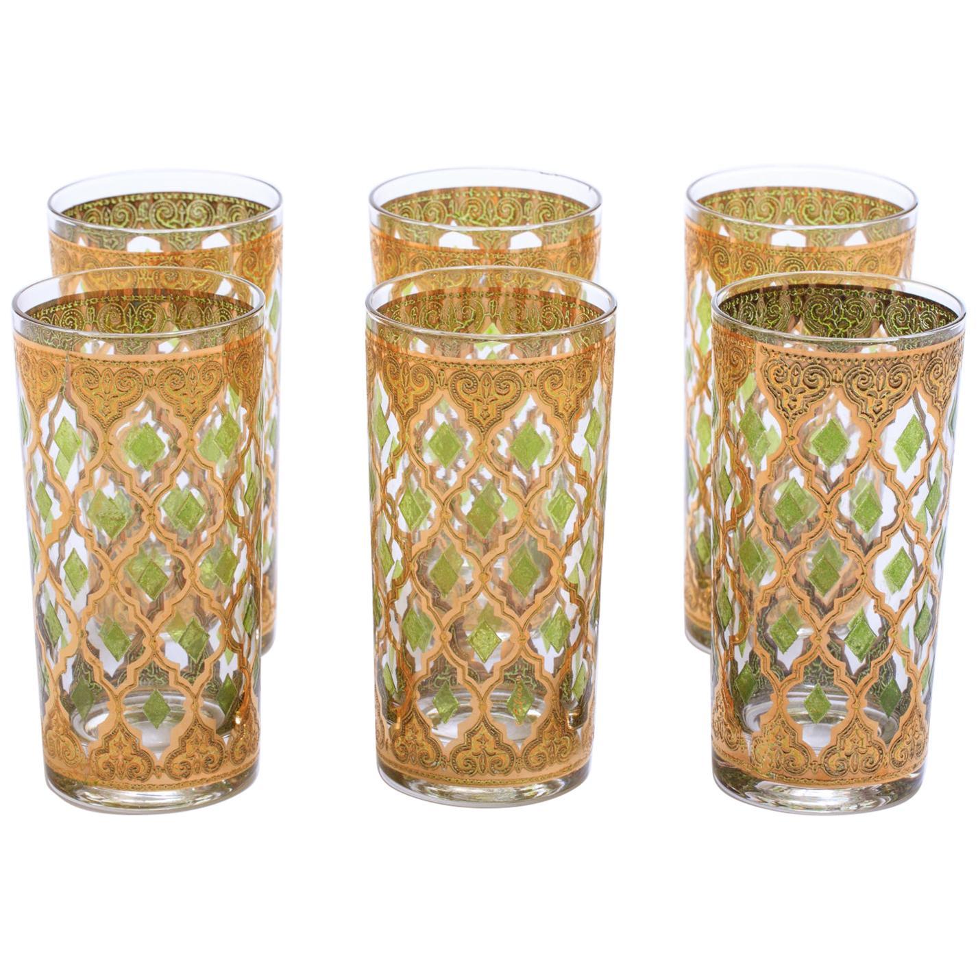 22-Karat Gold Moroccan Themed Vintage Cocktail Highball Glasses, circa 1965