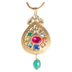 22 Karat Gold Nava Ratna Pendant on Hand-Rolled Gold Chain, India