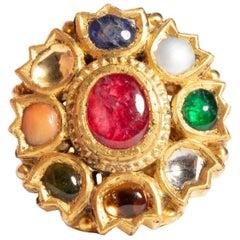 22 Karat Gold NavaRatna Ring with Precious and Semi-Precious Stones