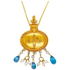 22k Gold Necklace Blue Topaz, Seed Pearls, Clear Quartz Pendant, Fancy Box Chain