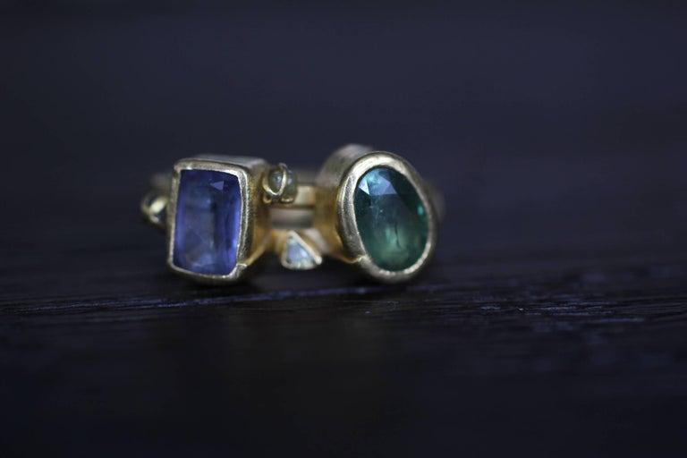2.3Ct Russian Demantoid Garnet Yellow Diamonds 22K Gold Bridal Three-Stone Ring For Sale 7