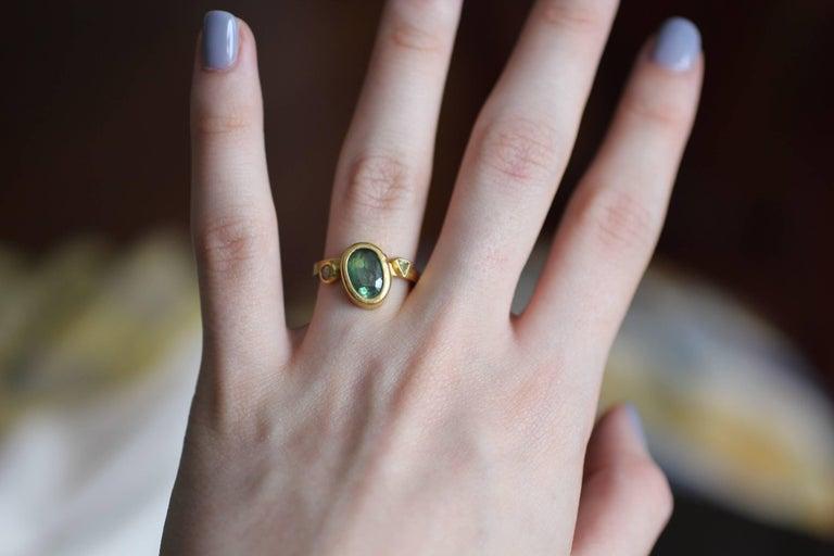2.3Ct Russian Demantoid Garnet Yellow Diamonds 22K Gold Bridal Three-Stone Ring For Sale 12