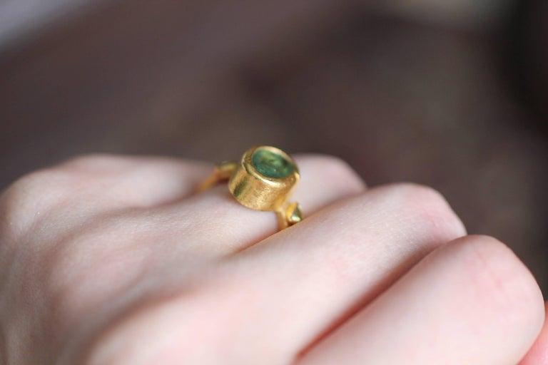 2.3Ct Russian Demantoid Garnet Yellow Diamonds 22K Gold Bridal Three-Stone Ring For Sale 14