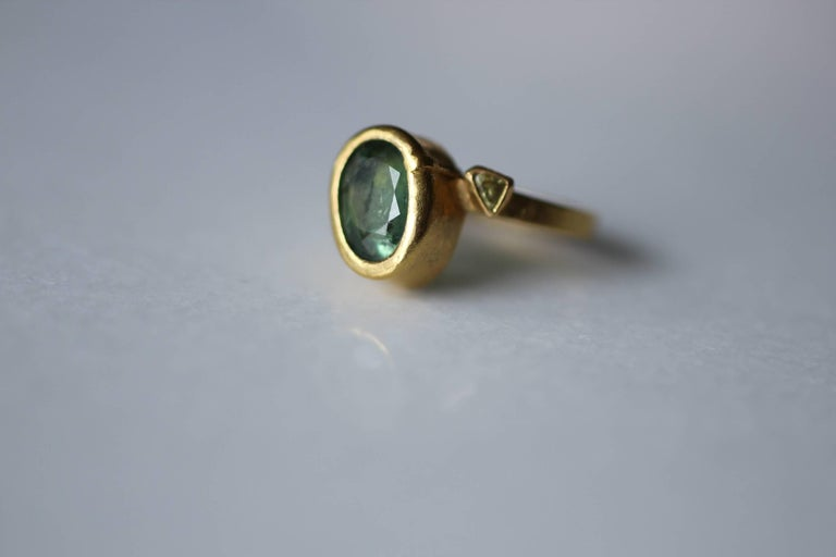 2.3Ct Russian Demantoid Garnet Yellow Diamonds 22K Gold Bridal Three-Stone Ring For Sale 8