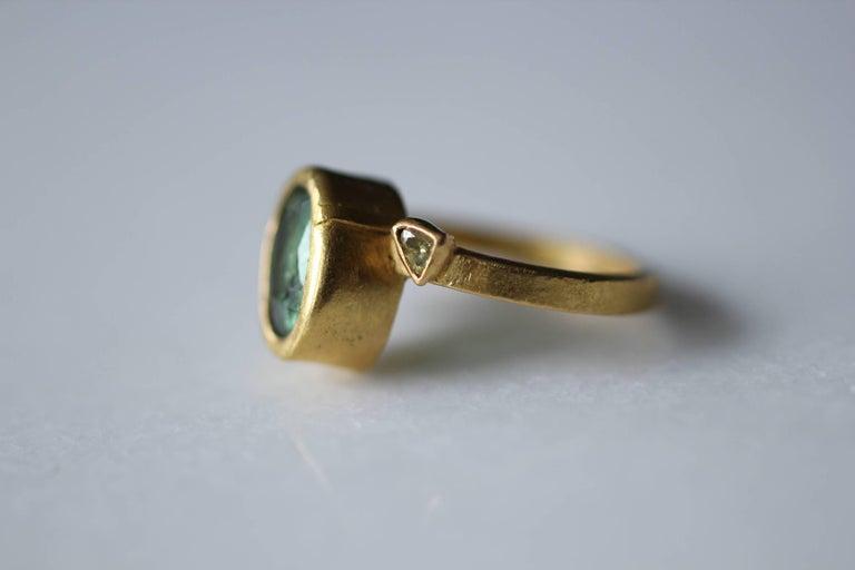 2.3Ct Russian Demantoid Garnet Yellow Diamonds 22K Gold Bridal Three-Stone Ring For Sale 9