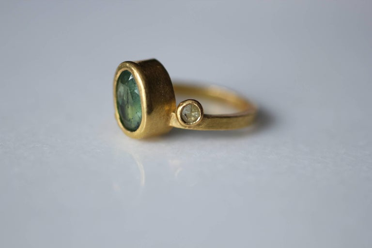 2.3Ct Russian Demantoid Garnet Yellow Diamonds 22K Gold Bridal Three-Stone Ring For Sale 10