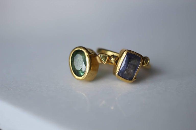 2.3Ct Russian Demantoid Garnet Yellow Diamonds 22K Gold Bridal Three-Stone Ring For Sale 11