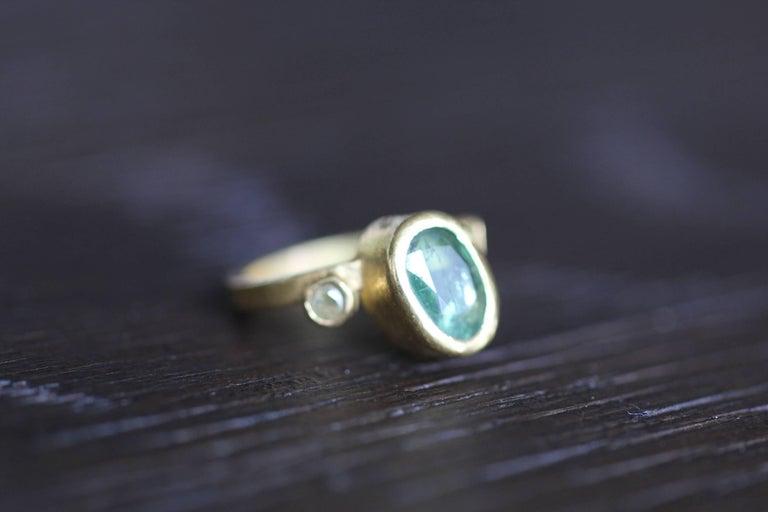 2.3Ct Russian Demantoid Garnet Yellow Diamonds 22K Gold Bridal Three-Stone Ring For Sale 2