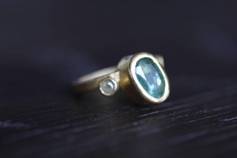 2.3Ct Russian Demantoid Garnet Yellow Diamonds 22K Gold Bridal Three-Stone Ring For Sale 3