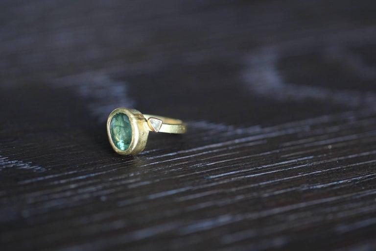 2.3Ct Russian Demantoid Garnet Yellow Diamonds 22K Gold Bridal Three-Stone Ring For Sale 4