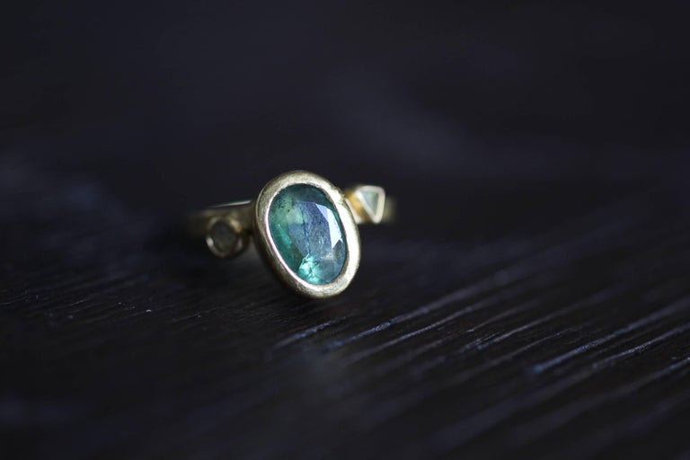 2.3Ct Russian Demantoid Garnet Yellow Diamonds 22K Gold Bridal Three-Stone Ring For Sale 5