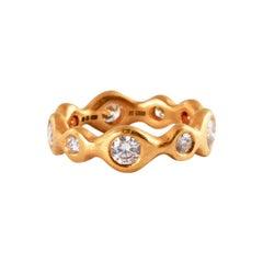 22 Karat Gold Ring with Brilliant Cut Diamonds 1.30 Carat