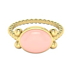 22k Gold Ring with Cabochon Stone by Romae Jewelry Inspired by Ancient Designs