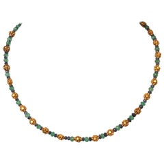 22 Karat Gold Sapphire and Emerald Necklace by Deborah Lockhart Phillips