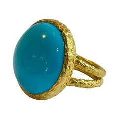 22k Gold Summer Signature Turquoise Cocktail Ring by Tagili
