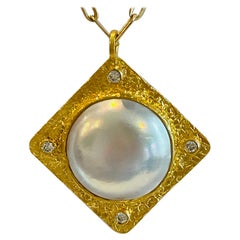 22k Pearl and Diamond Pendant Necklace by Tagili