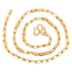 22K Pure Gold Baht Chain, 22kt Baht Box Chain, 22kt Yellow Gold Necklace, 22 Kt
