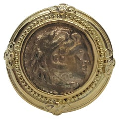 22K Yellow Gold Greek Ancient Bezel Coin Ring, Tapered