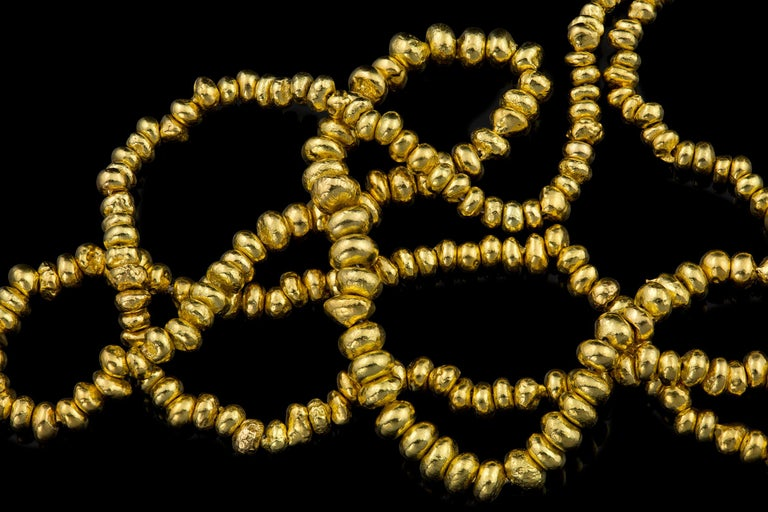 Greek Revival 22 Karat Yellow Gold Recycled Bead Necklace For Sale