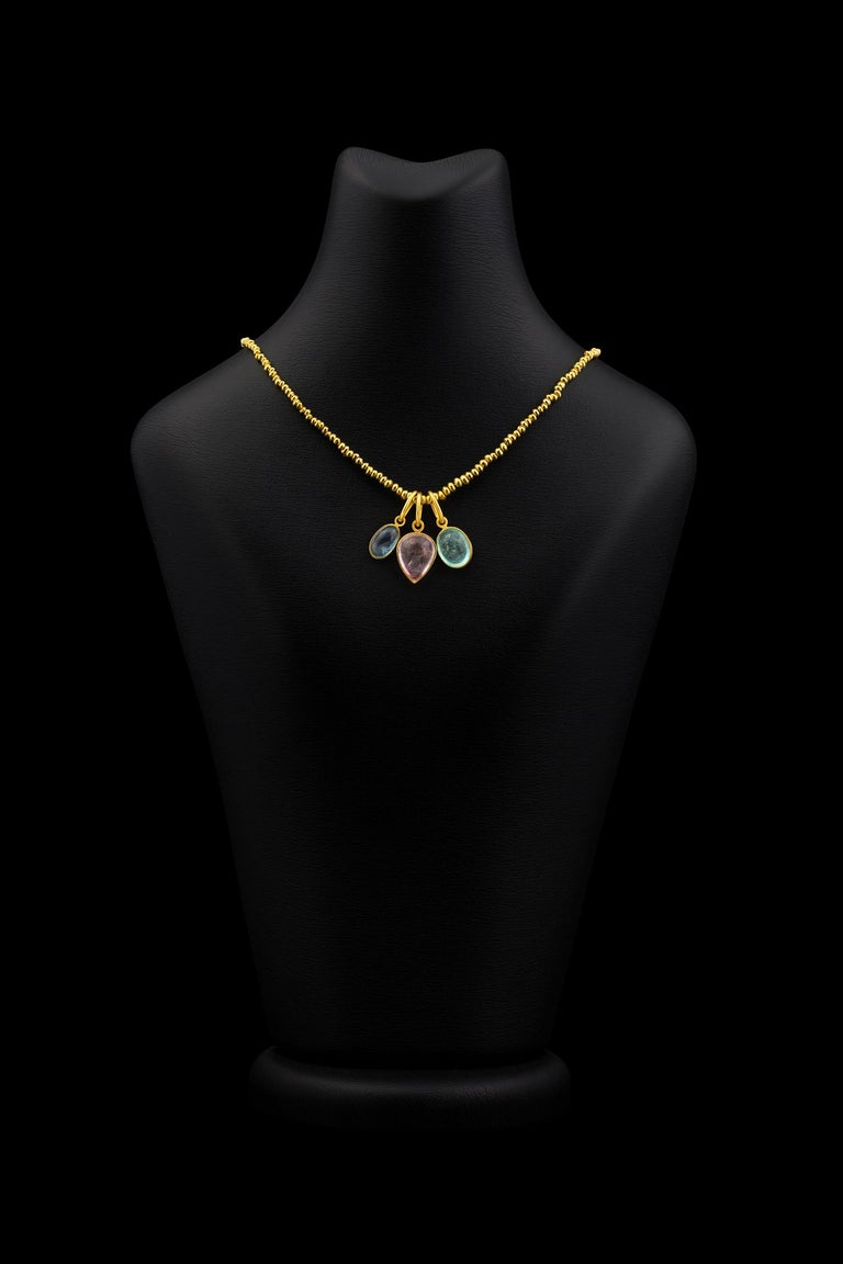 22 Karat Yellow Gold Recycled Bead Necklace In New Condition For Sale In Hermosa Beach, CA
