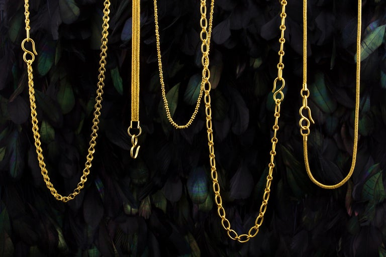 22 Karat Yellow Gold Recycled Bead Necklace For Sale 1