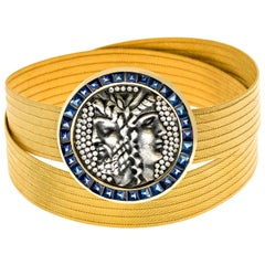 22K Gold Roman Coin Wicker Bracelet with 4.35 Carat Sapphire, 0.80 Carat Diamond