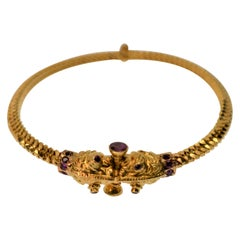 22 Karat Yellow Gold  Ruby Serpent Bangle Bracelet