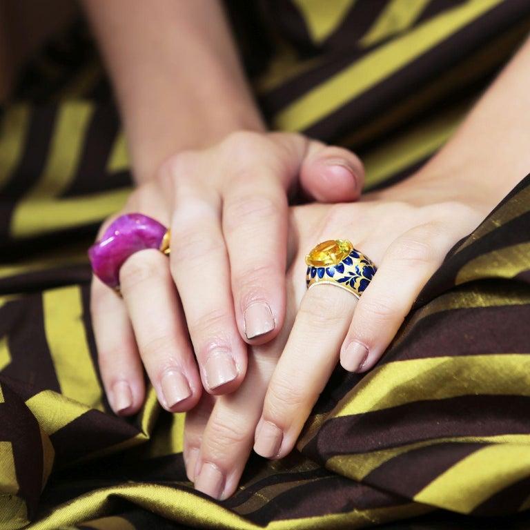 Uncut 22 Karat Gold, Enamel, Yellow Topaz Heirloom Ring For Sale