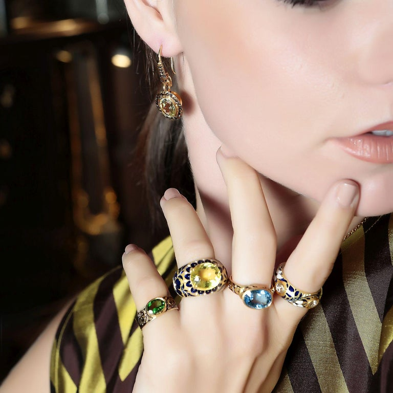 22 Karat Gold, Enamel, Yellow Topaz Heirloom Ring In New Condition For Sale In London, GB