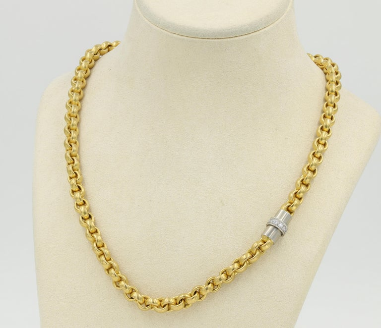 22kt. Gold necklace with Platinum & Diamond Clasp -  Platinum clasp has 11 round cut diamonds that weigh approximately 0.20ctw. Stamped Germany & 916 - Measures 17.5