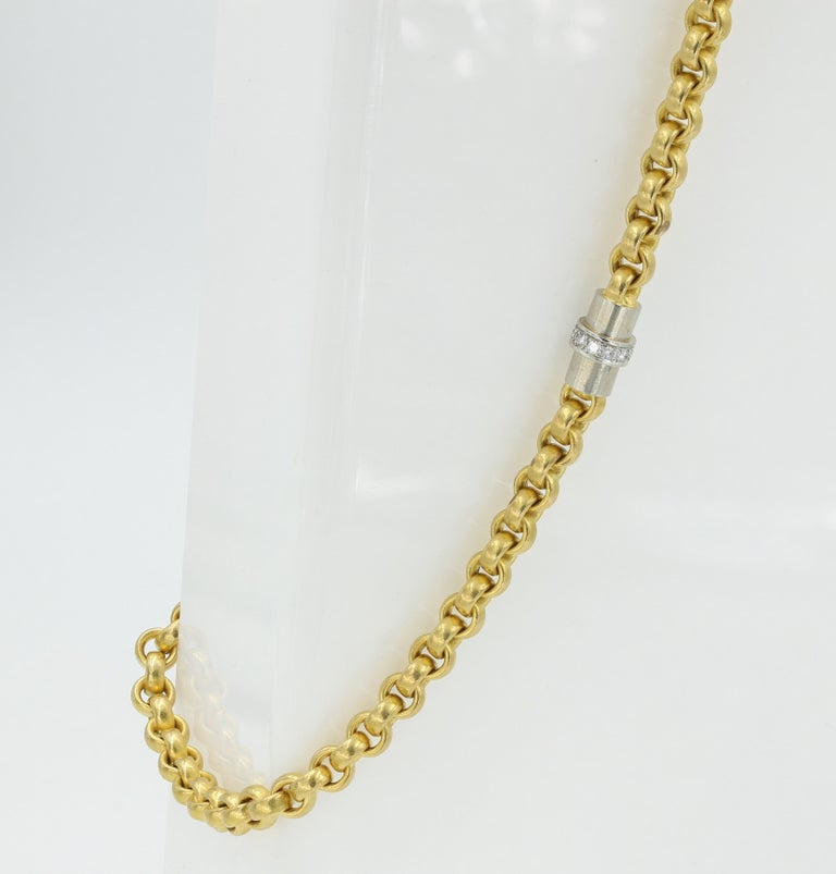 Contemporary 22 Karat Gold Necklace with Platinum and Diamond Clasp, German For Sale