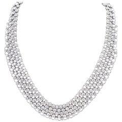 23 Carat Bezel Set Round Brilliant Cut Diamond Collar Necklace 18 Karat Gold