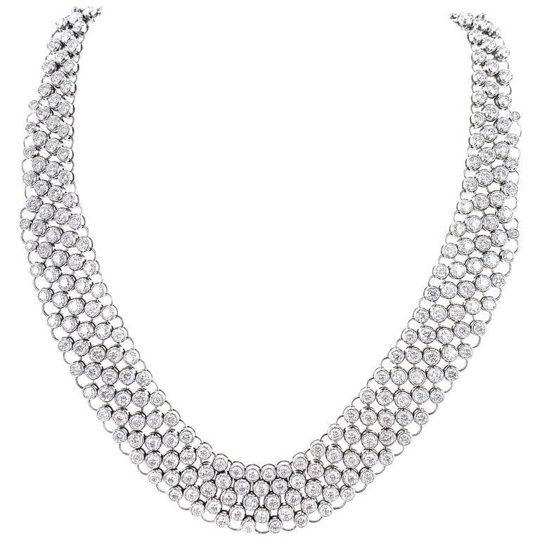 23 Carat Bezel Set Round Brilliant Cut Diamond Collar Necklace 18 Karat Gold For Sale