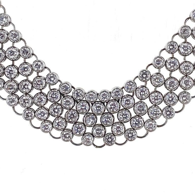 Modern 23 Carat Bezel Set Round Brilliant Cut Diamond Collar Necklace 18 Karat Gold For Sale