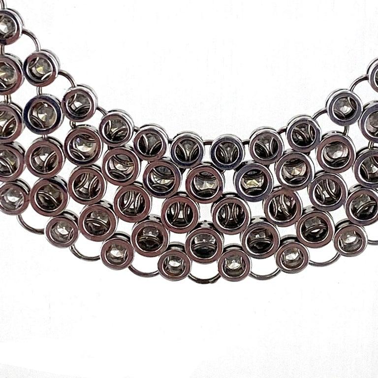 Round Cut 23 Carat Bezel Set Round Brilliant Cut Diamond Collar Necklace 18 Karat Gold For Sale