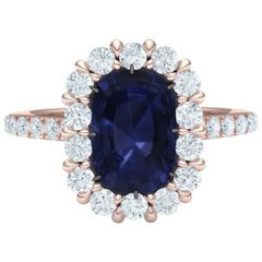 2.3 Carat Blue Spinel and Diamond Rose Gold Ring
