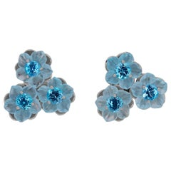 2.3 Carat Blue Topaz Flower Earrings